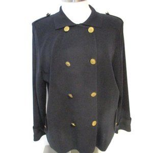 Exclusively Misook Black Military Cardigan Large